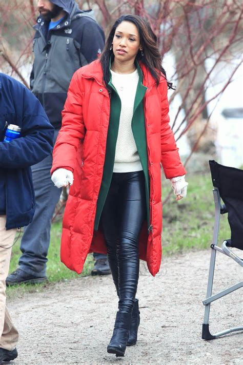 Candice Patton on the set of The Flash - Leather Celebrities