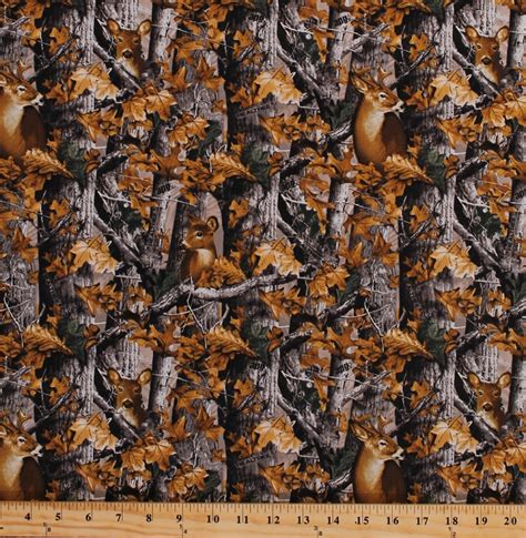 Cotton Realtree Woods Deer in Camo Camouflage Trees Leaves