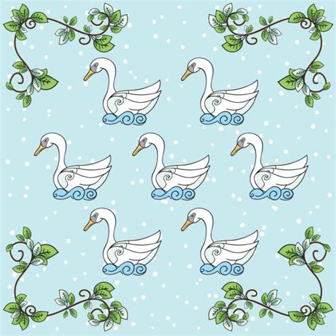 Best Seven Swans A Swimming Illustrations, Royalty-Free