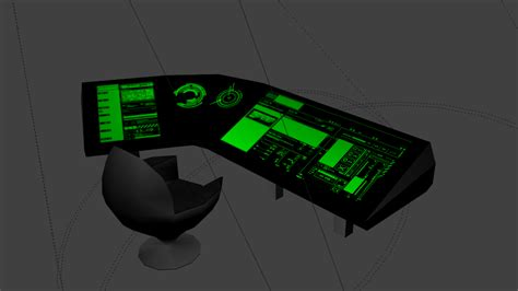 Sci-Fi console and chair | OpenGameArt